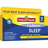 Nature Made Sleep† 3mg Melatonin + 200mg L-theanine, 30 Softgels (Packaging May Vary)