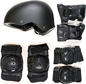 SKATEBOARD / SKATE PROTECTION SET WITH HELMET elbow knee pads for kids scooter BMX skate board (S)