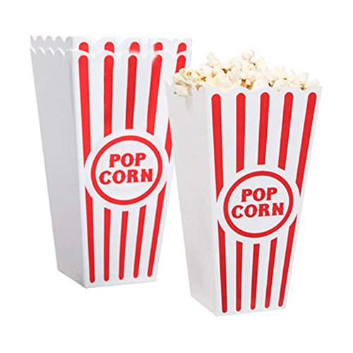 [Novelty Place] Plastic Red & White Striped Classic Popcorn Containers for Movie Night - 7.8