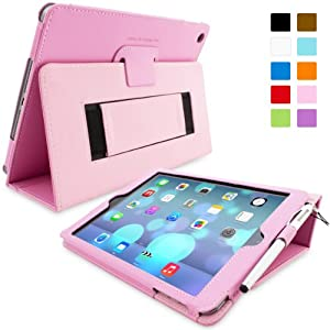 Snugg iPad Air (iPad 5) Case - Smart Cover with Flip Stand & Lifetime Guarantee (Candy Pink Leather) for Apple iPad Air (2013)