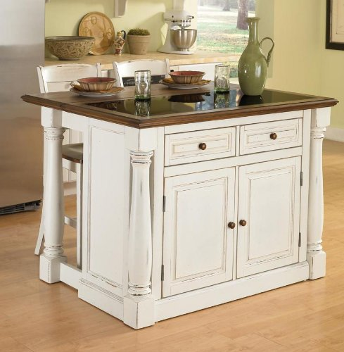 Cheap Home Styles 5021-948 Monarch Kitchen Island with Granite Top and 2 Stool, Antiqued White Finish (5021-948)