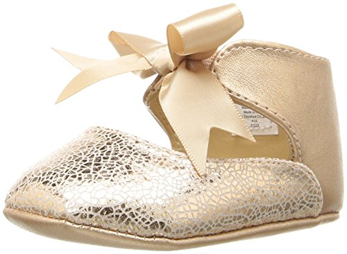 Baby Deer Girls' Metallic Ankle Strap with Bow Slip-On, Champagne, 3 M US Infant
