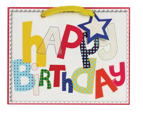 Jillson Roberts Medium Gift Bag, Contemporary Birthday, 6-Count (MT149)