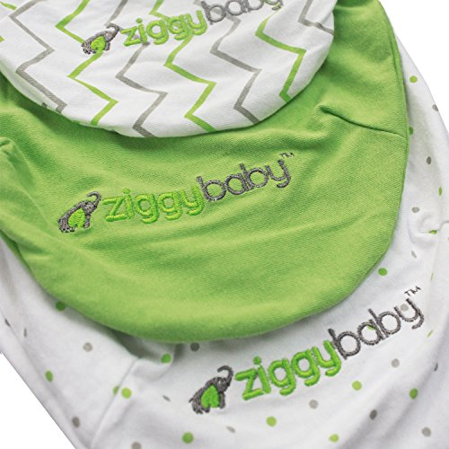 Swaddle Blanket, Adjustable Infant Baby Wrap Set by Ziggy Baby, 3 Pack Soft Cotton in Grey Chevron, Polka Dot and Solid Green – Best Baby Shower Gift for Boys, Girls, Unisex