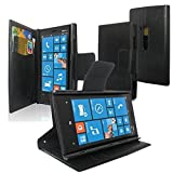 SQdeal® Premium Luxury Flip Folio Wallet Synthetic leather Case Stand for Nokia Lumia 920 (Black)