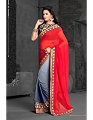 AG Lifestyle Red & Gray Georgette Saree With Unstitched Blouse ASL605