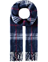 VB Scarf, classic - made of virgin wool & cashmere - checked - fringed