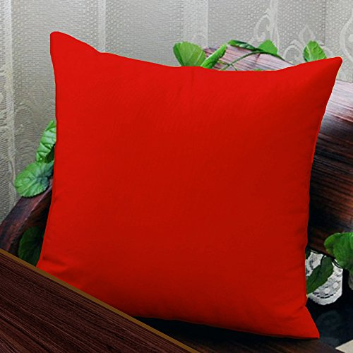 AURAVE Solid Plain Premium Cotton Cushion Cover - Red - 16 inch x 16 inch