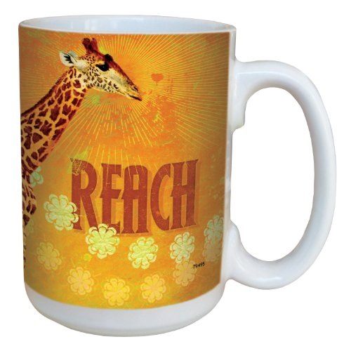 Tree-Free Greetings 79495 Fun Reach Giraffe Art By Duirwaigh Gallery Ceramic Mug With Full-Sized Handle, 15-Ounce, Multicolored