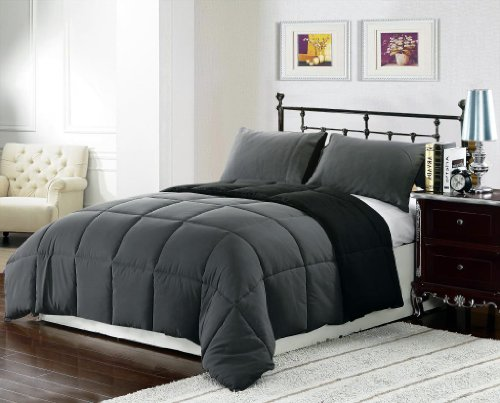3 Piece Black Grey Super Soft Goose Down Alternative Reversible Queen/Full Size Comforter Set