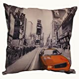 New York Yellow Taxi Screenprinted Cushion Cover 43cms x 43cms