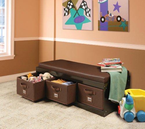 Kids Storage Bench with Cushion and 3 Bins