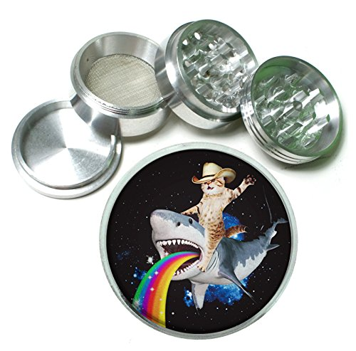 Cat Bucking Puking Rainbow Shark Funny Weird 4 Pc. Aluminum Tobacco Spice Herb Grinder (Funny Herb Grinder compare prices)