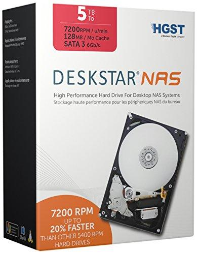 HGST, a Western Digital Company Deskstar NAS 3.5-Inch 5TB 7200RPM SATA III 128MB Cache Internal Hard Drive Kit 0S03835