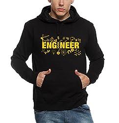 ADRO Premium Cotton Printed Hoodie Sweatshirt for Men (Black)
