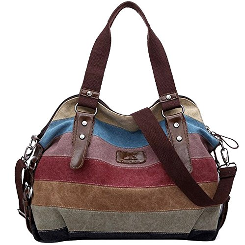 Coofit Stripe Leisure Canvas Top Handle Cross Body Bag Tote Handbags for Women Model B
