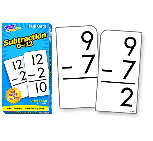 Trend Enterprises Trend Math Flash Cards - Subtraction Flash Cards 0- 12 (Box of 91 Cards)