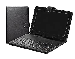 LOYO Universal Tablet USB Keyboard Leather Flip Back Cover Case For All 7 Inch Tablets Like Samsung Micromax, Lava, Datawind And IBall (BLACK)