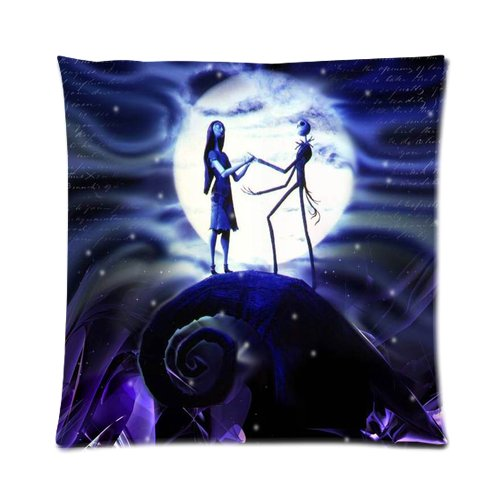 Generic Elegant The Nightmares Before Christmas Moon Car Cotton And Polyester Square Standard Zippered Pillowcases Case 16 By 16 Inch front-907744