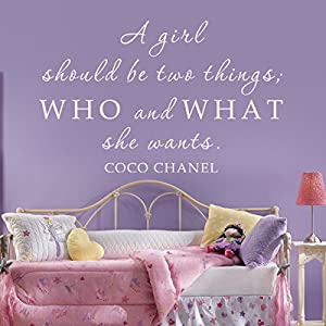 .com - Vinyl Inspirational Wall Decal Girly Wall Quote Coco Chanel