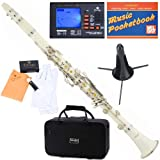 Mendini MCT-W+SD+PB+92D White ABS B Flat Clarinet with Tuner, Case, Stand, Mouthpiece, 10 Reeds and More