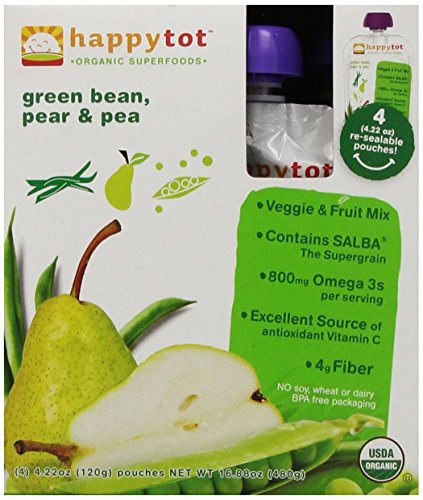 Happy Tot Baby Food, Green Bean Pear and Peas, 4 pk, 16.88 oz (Wheat Free Baby Food compare prices)