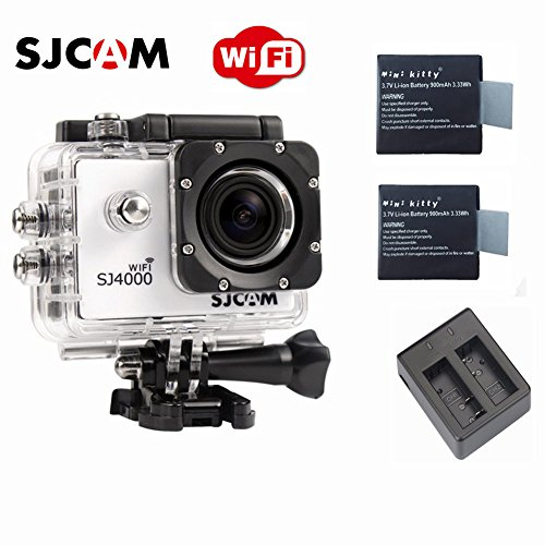 SJCAM Original SJ4000 WiFi Version Full HD 1080P 12MP Diving Bicycle Action Camera 30m Waterproof Car DVR Sports DV with Waterproof Case (White)+ Free Extra 2 Mini Kitty Batteries+ Free Dual Charger (Mini Dv Case compare prices)