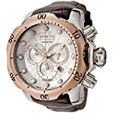 Invicta Men's 0359 Reserve Collection Venom Chronograph Brown Leather Watch (Color: silver)