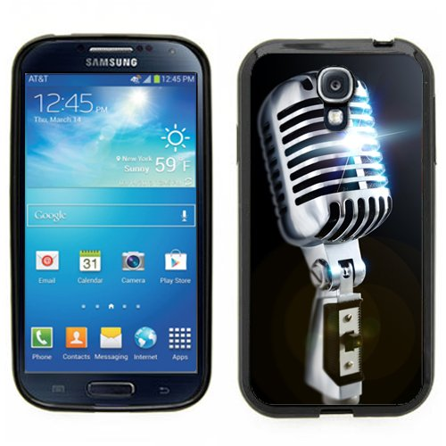 Samsung Galaxy S4 Siiii Black Rubber Silicone Case - Old School Microphone 50'S Style Retro Mic