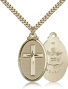 Gold Filled Cross Army Pendant 1 1/4 x 5/8-inch Military Medal
