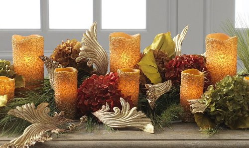 5 Piece Amber Beaded Electric Candle Set - 6 And 7 Inch - From Raz - Boc Select