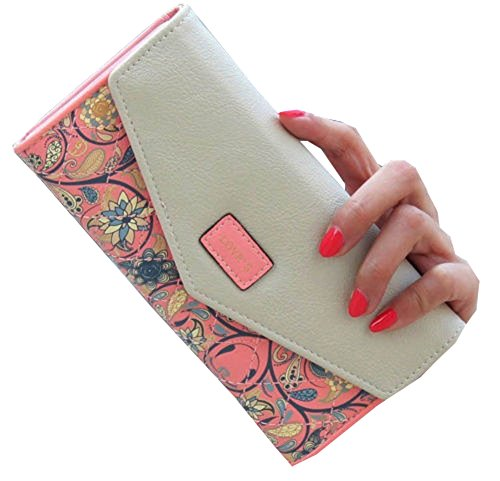 Women Leather Wallet Envelope Purse Card Holder