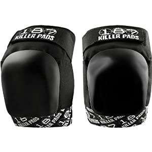 187 Killer Pro Black White Knee Pads - Made by 187 Killer Pads for Roller Derby... by 187 Killer