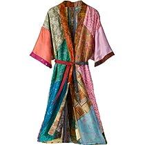 Unique Recycled Silk Saris Robe - Medium