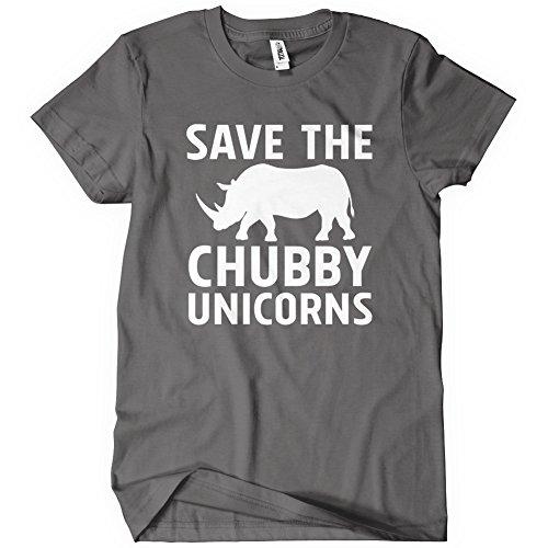 Save the Chubby Unicorns Mens Funny T-Shirt Tee Rhino Animal Joke Gift Grey