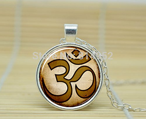 SunShine Day Glass Cabochon Necklace Om Necklace Om Yoga Jewelry Om Pendant A0488