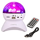 Onite Disco DJ Stage & Studio Special Effects Lighting, RGB Color Changing, LED Crystal Ball Auto Rotating, with Music Player for TF Card, and Wireless Bluetooth Speaker, Works for Iphone, Ipad Mini, Ipad 4/3/2, Itouch, Samsung, LG, Motorola, HTC, Nexus and other Smart Phones and Mp3 Players (White)