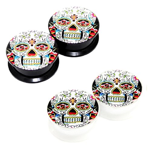 Value Pack 2 Pairs 4Mm 6G (More Sizes Available) Classic Mexican Sugar Skull Logo Acrylic Internal Thread Screw Fit Flesh Tunnels Black White Ear Plugs
