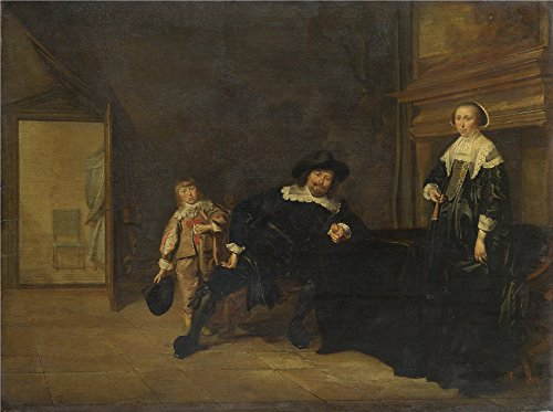 Oil Painting 'Pieter Codde Portrait Of A Man A Woman And A Boy In A Room' 8 x 11 inch / 20 x 27 cm , on High Definition HD canvas prints is for Gifts And Bar, Foyer And Study Room Decoration (Horse Trailer Butt Chain compare prices)