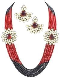 Party Wear Stylish 5-Line Double Kundan Brooch Necklace Set For Women By Shining Diva