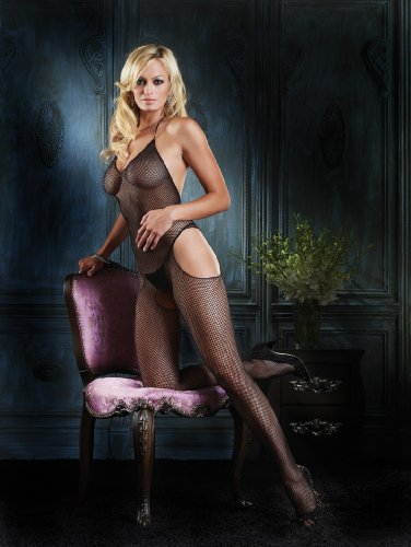 Leg Avenue Seamless Fishnet Halter Suspender Bodystocking One Size (UK 6-14)