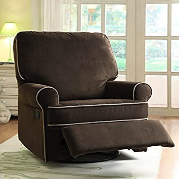 Ella Brown Fabric Nursery Swivel Glider Recliner Kids Chair