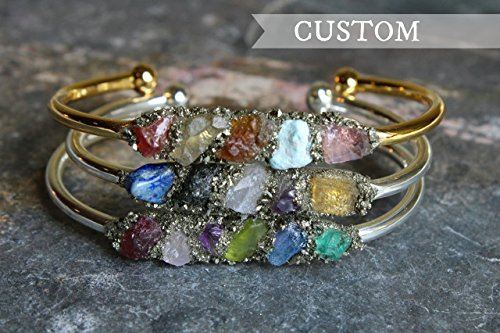 customized-boho-raw-crystal-gemstone-cuff-bracelet-jewelry-with-4-or-5-birthstones