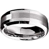 Tungsten Carbide Men's Ring Wedding Band 8MM (5/16 inch) Brush Finish Center Band Comfort Fit (Available in Sizes 8 to 12) size 11