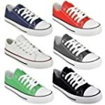 LADIES WOMENS CANVAS LACE UP PLIMSOLL...
