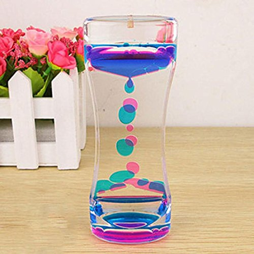 Color Mix Illusion Timer Liquid Motion Visual Slim liquid Oil Acrylic Hourglass Timer Clock Ornament Desk-OmenTech (Ooze Tube Liquid Motion Timer Toy compare prices)