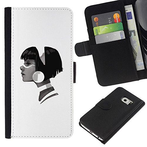GIFT CHOICE / Smartphone Portafoglio in pelle Caso Cover protettiva Cassa Custodia per Samsung Galaxy S6 EDGE // Profilo Portrait Girl Big Orecchini Fashion Art //