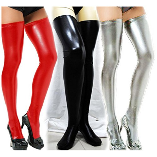 Zmart Women's Sexy Over Knee PU leather Thigh High Socks
