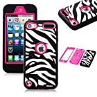 Oksobuy® the New Rose Pink White Zebra Combo Hard Soft High Impact Armor Case Skin Gel for Apple Ipod Touch Generation 5 (Touch 5 Case)-0400