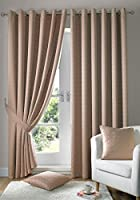 "Jacquard Check Latte Beige 66x72"" 168x183cm Lined Ring Top Eyelet Curtains Drapes from Curtains"